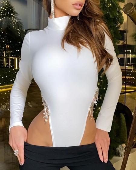 Rhinestone Tassel Design Mock Neck Skinny Bodysuit