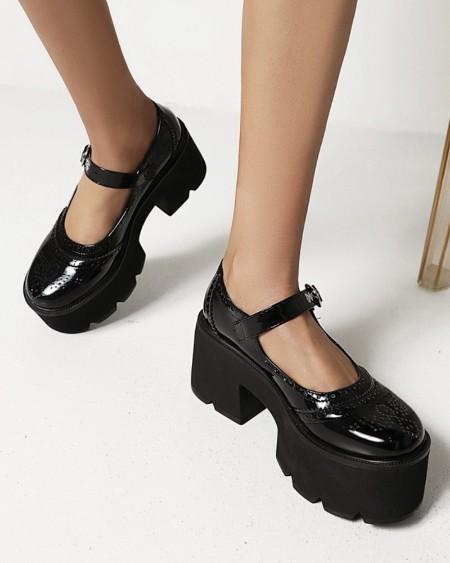 Chic Ladies One Strap Round Toe Shiny Finish Platform Shoes