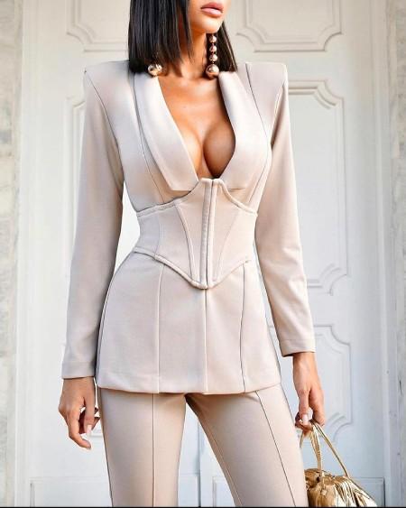 Plunge Padded Shoulder Blazer Coat With Corset