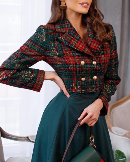 Casaco Blazer Tweed Colorblock Double Breasted