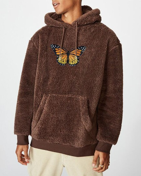 Mens Embroidery Butterfly Plush Long Sleeve Pocket Hoodie