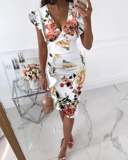 Ruched Ruffle Hem Floral Print Dress