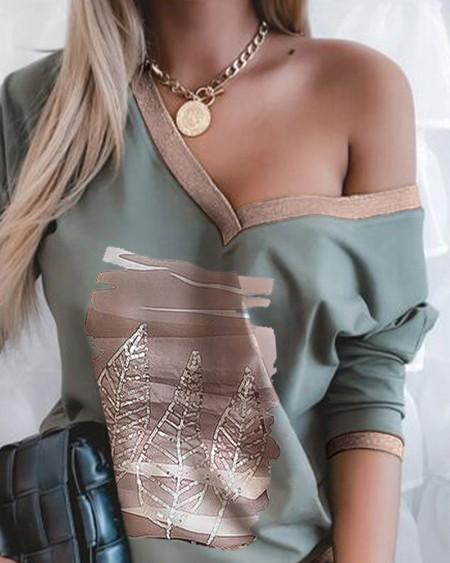 Sequin Leaves Pattern Long Sleeve Top