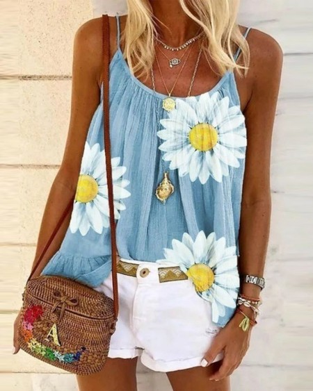 Daisy Print Ruched U-Neck Cami Top