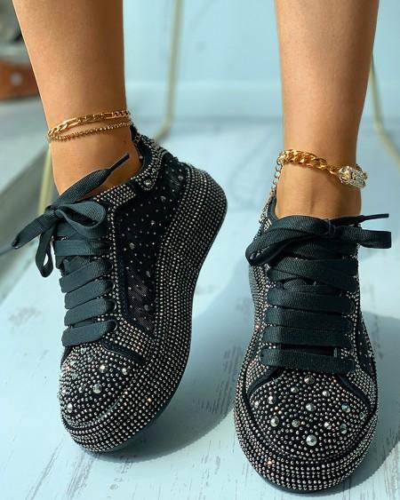 Rhinestone Decor Eyelet Lace-up Sneaker