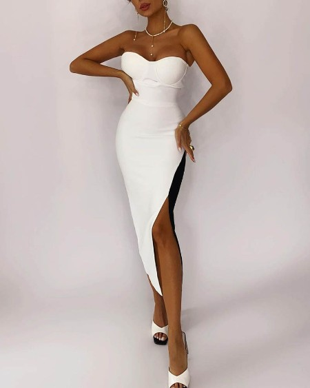 Colorblock Split Thigh Skinny Tube Dress