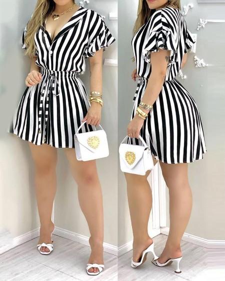 Striped Colorblock Ruffles Shirt Dress