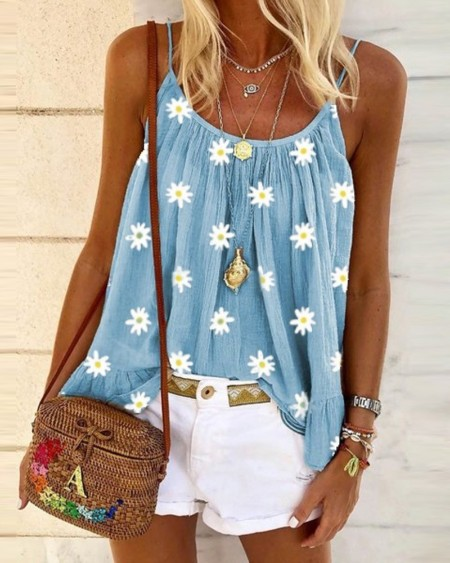 Daisy Print Ruched Cami Top