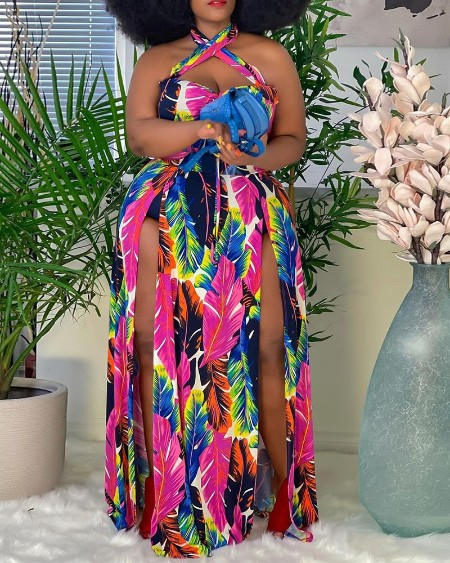 Plus Size Halter Feather Print High Slit Maxi Dress