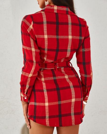 Plaid Print Button Pocket Design Shirt Dress