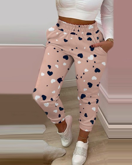Heart Print Shirring Waist Pocket Design Casual Pants