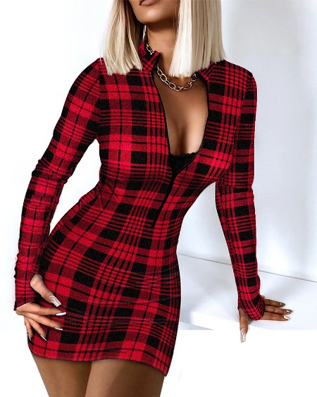 Plaid Print Zip Front Thumb Hole Bodycon Dress