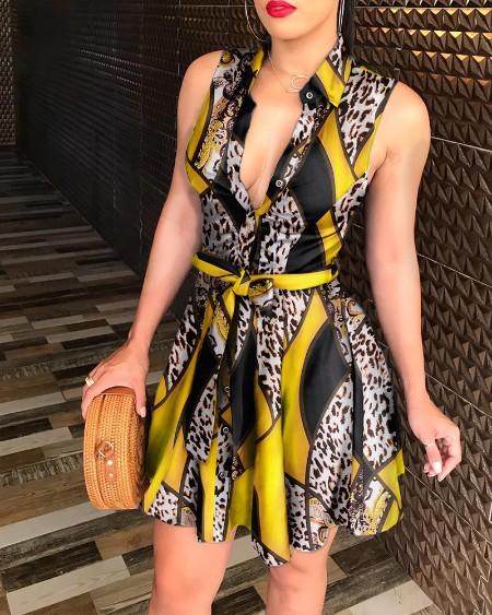 Floral Print Sleeveless V-Neck Tie Waist Shirt Dress