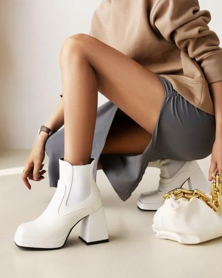 Womens Square Toe Wax Finish High Chunky Heel Boots