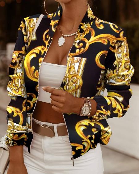 Vintage Print Long Sleeve Zip Up Jacket