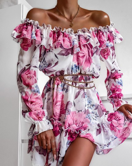 Frill Hem Ruffles Off Shoulder Floral Print Dress