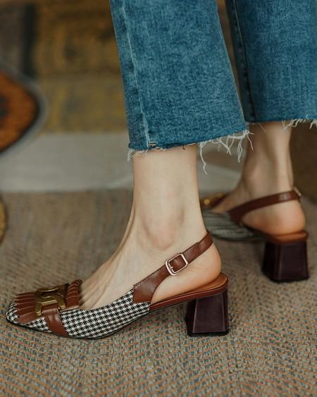 Square-toe Houndstooth Print Splicing Tassel Buckle Slingback High Heels