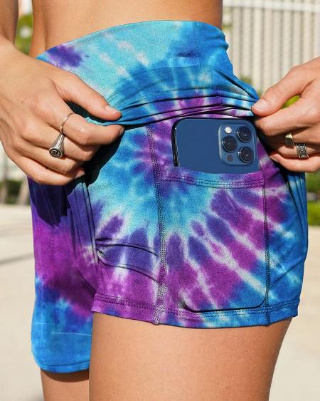Tie Dye Print High Waist Sport Skinny Short Pants