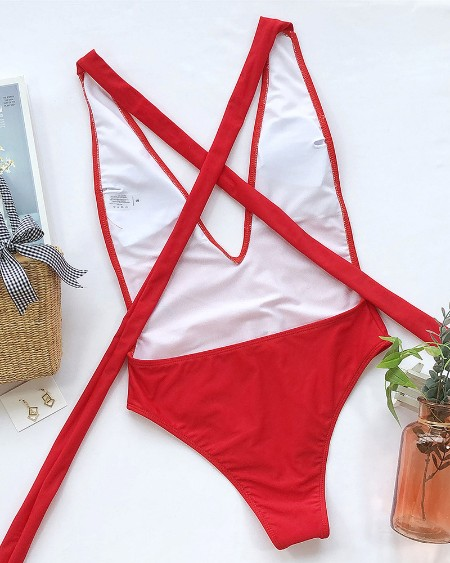 Crisscross Bandage One Piece Swimsuit