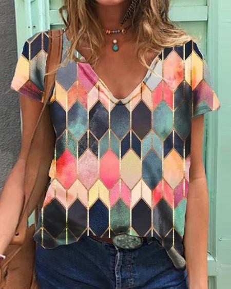 Geo Pattern Print Colorblock Short Sleeve T-shirt