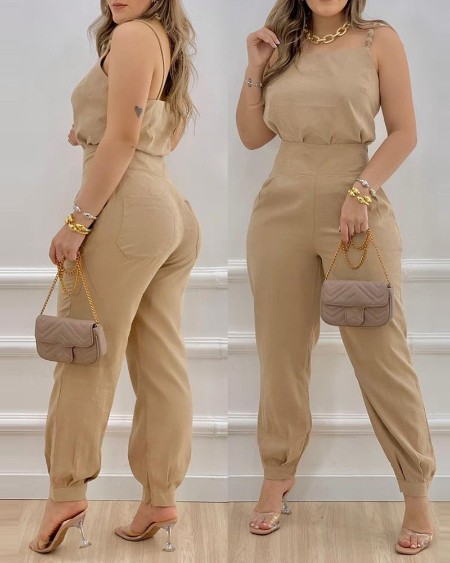 Spaghetti Strap Top & Pocket Design Pants Sets