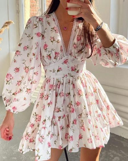 Floral Print Lantern Sleeve V Neck Lace Hem Ruched Dress