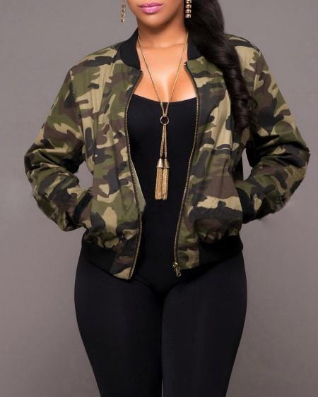 Camouflage Print Zipper Jacket