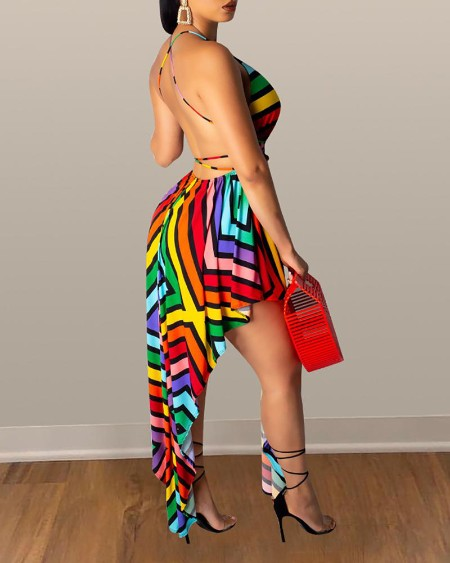 V-Neck Backless Colorful Striped Irregular Dress