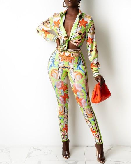 Long Sleeve Graphic Print Shirt & Skinny Pants Set