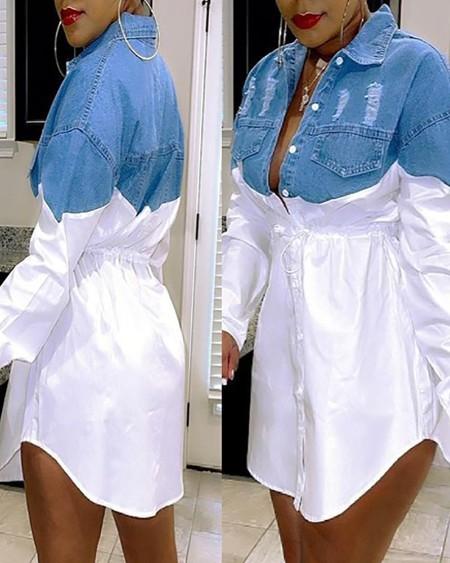 Colorblock Button Front Ripped Denim Patch Shirt Dress