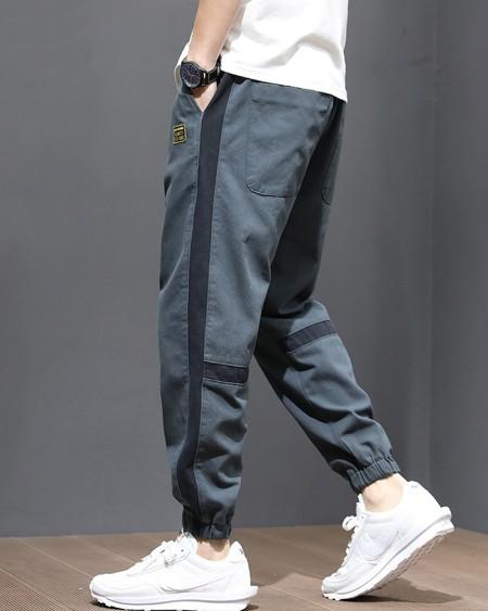Stripe-side Loose Drawstring Cargo Pants