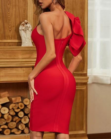 Solid Ruffle Hem One Shoulder Bodycon Dress