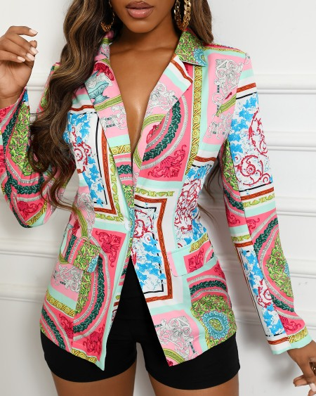 Puff Sleeve Scarf Print Blazer Coat