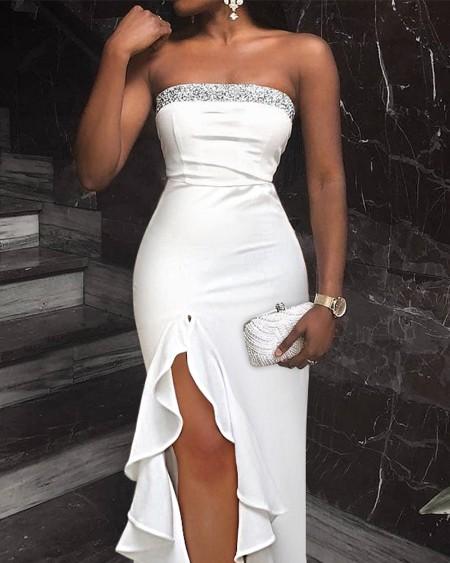Glitter Trim Bodice Ruffle Hem Split Thigh Dress Elegant Cocktail Dresses Maxi Dress