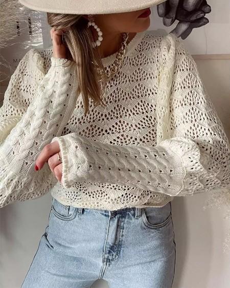 Solid Lantern Sleeve Crochet Knit Top