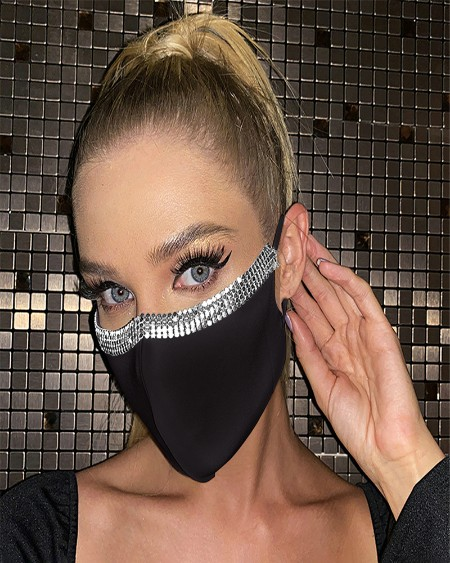 Washable Breathable Sparkly Rhinestone Trim Earloop Face Mask
