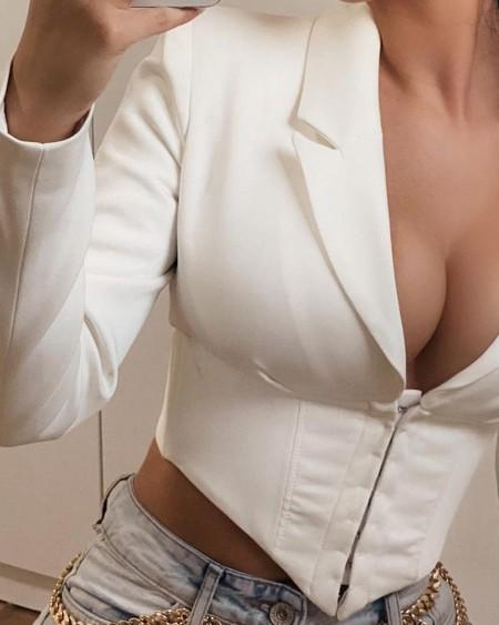 Long Sleeve Hanky Hem Zipper Crop Blazer Coat
