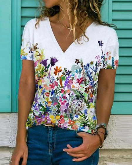 Floral Print V-Neck Short Sleeve Casual T-shirt