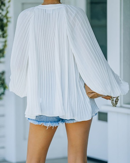 Solid Long Sleeve Loose Strappy Blouse
