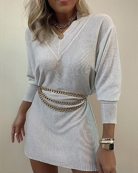 Drop Shoulder Glitter Sweater Dress