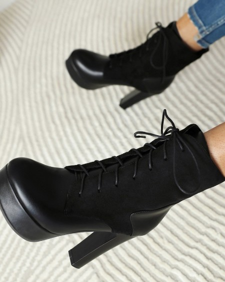 Round-toe Lace-up Patchwork High Heel Ankle Boots