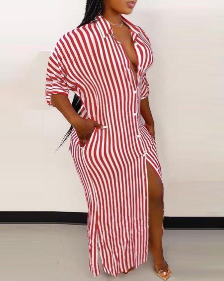 Striped Pocket Split Hem Button Up Maxi Shirt Dress