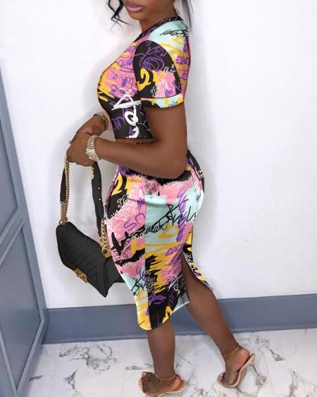 All Over Print Crop Top & Split Back Skirt Set