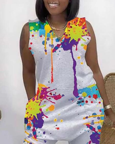 Ink Splash Print Sleeveless Pocket Design Jumpsuit