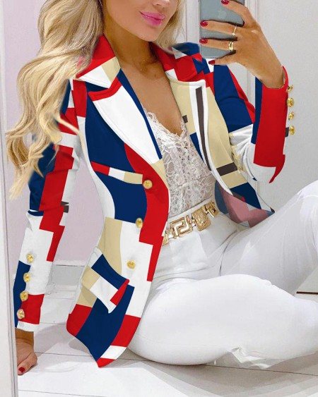 Two Piece Sets Geometric Print Lapel Collar Double Breasted Blazer Elegant Work Suit Set