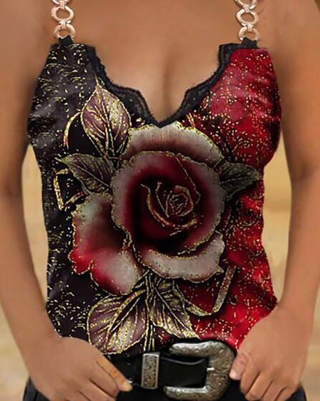 Floral / Studded Print V Neck Chain Design Sleeveless Tank