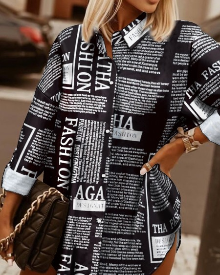 Newspaper Print Roll Tab Sleeve Button Up Shirt