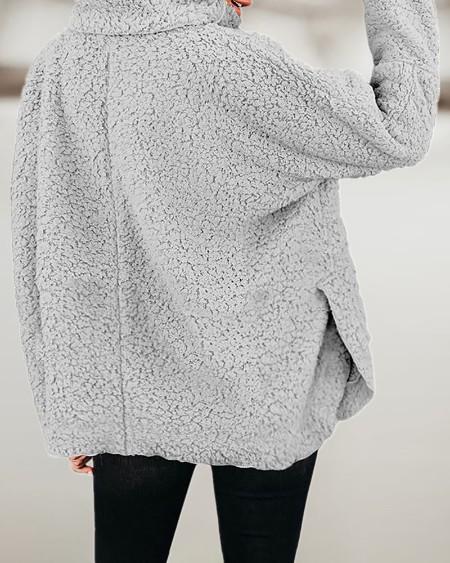 High Neck Long Sleeve Teddy Coat