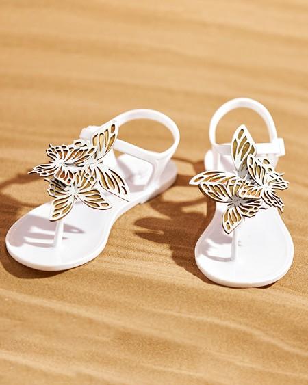 Butterfly Pattern Toe Post Flat Sandals