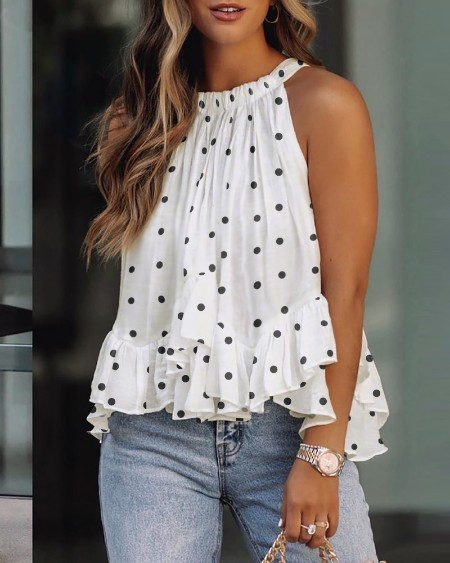 Polkadot Print Layered Ruffles Sleeveless Top
